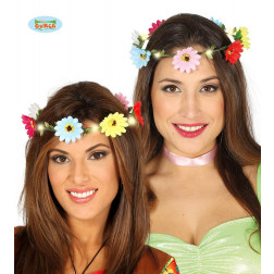 DIADEMA LUMINOSO CON FIORI MULTICOLORE